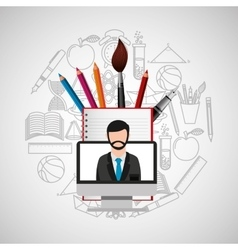 eduation online concept teacher school background vector image
