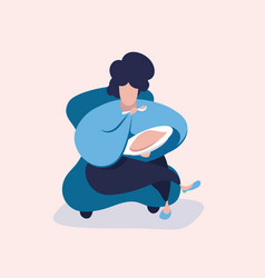 fat woman in a chair eating high calorie food vector image