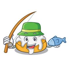 Fishing cinnamon roll mascot cartoon vector