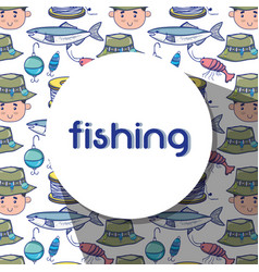 Fishing funny sport to catch sea food background vector