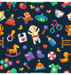flat design cute baby pattern with icons vector image