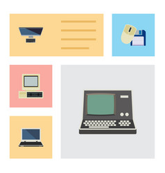 Flat icon computer set of notebook pc computer vector