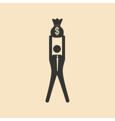 Flat in black white man and money bag vector image