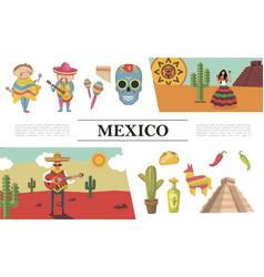 flat mexico composition vector image