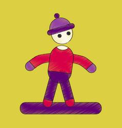 flat shading style icon snowboarder vector image