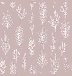 floral pattern with hand drawn branches vector image