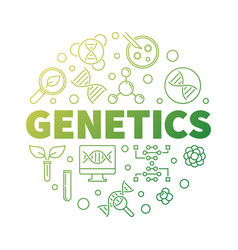 Genetics round biology green outline vector