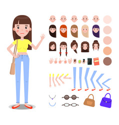 girl constructor with body parts and accessories vector image