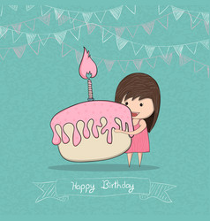 girl with birthday cupcake background drawing by vector image