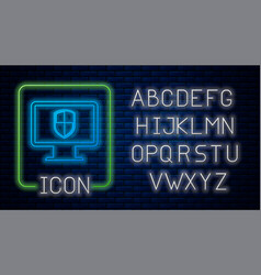 Glowing neon monitor and shield icon isolated on vector