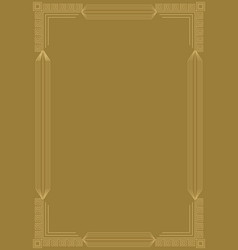 golden embossed art deco frame relief geometric vector image