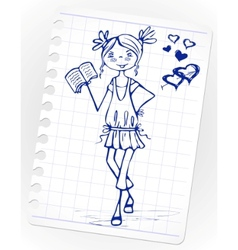 hand drawn fashion girl vector image