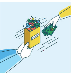 hands holding paper bag with fruits and vegetables vector image