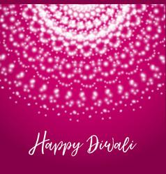 Happy diwali greeting card with shine rangoli vector