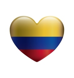 heart with colors colombian flag vector image