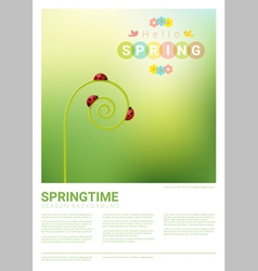 Hello spring background with red ladybugs 4 vector image