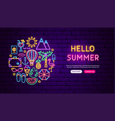 Hello summer neon banner design vector