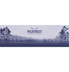 Horizontal abstract banners hills coniferous vector