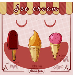 ice cream cone ball vintage banner vector image