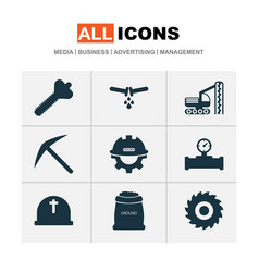 Industry icons set with bolt drilling machine vector