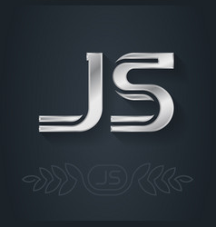 J and s initial silver logo js - metallic 3d icon vector