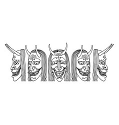 Japanese theatrical mask an angry jealous woman vector