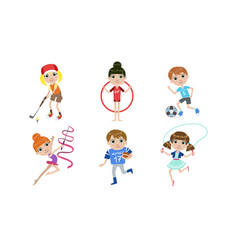 kids doing different kind sports set boys and vector image