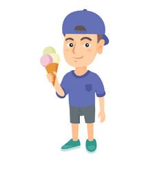 little caucasian boy holding an ice cream cone vector image