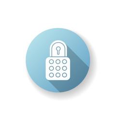 Lock blue flat design long shadow glyph icon vector