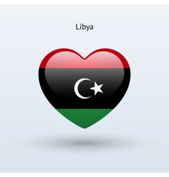 Love Libya symbol Heart flag icon vector image