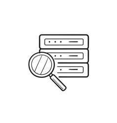 magnifier over database server hand drawn outline vector image