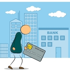 Man going to bank building with credit card vector