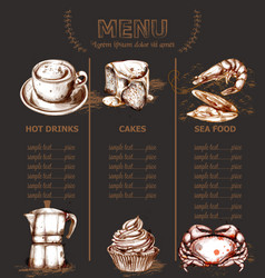 menu template drinks cakes and seafood vector image