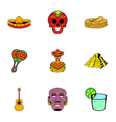 Mexican culture icons set cartoon style vector