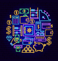 Money neon concept vector