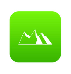 mountains icon digital green vector image