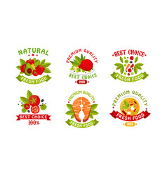natural fresh food logo collection fresh high vector image