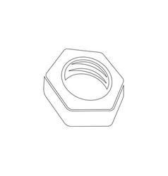 Nut bolt flat icon vector