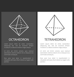Octahedron and tetrahedron geometric shapes figure vector