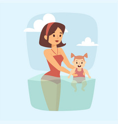 people on beach outdoors mother and daughter vector image