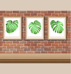 picture with monstera on a brick wall vector image