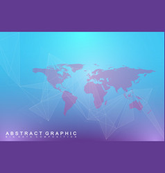 Political world map with global technology vector