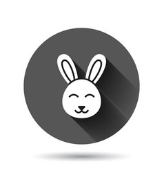 Rabbit icon in flat style bunny on black round vector