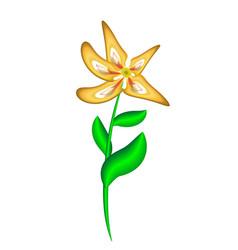 Realistic three-dimensional plastic yellow flower vector