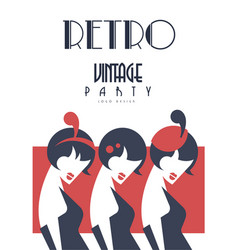 Retro vintage party logo design template for vector