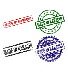 Scratched textured made in karachi seal stamps vector