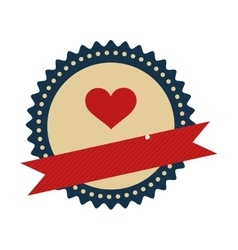 seal stamp with heart inside vector image