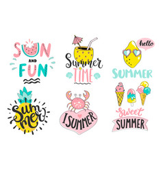 set of summer handdrawn labelslogostagselements vector image