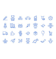 set toys icons on white background line style vector image