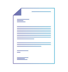 sheet document in degraded purple to blue contour vector image